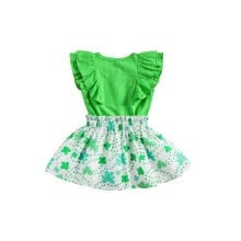 -Kids Solid Color Round Collar Fly Sleeve T-Shirt+ Floral Print Skirt on JD