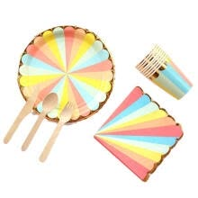 -Colorful Stripe Party Supplies, Paper Plates, Paper Cups, Napkins, Wooden Knife Fork Spoon Disposable Tableware for Birthday P on JD