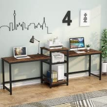 -96.9' Double Computer Desk with Printer Shelf, Extra Long Two Person Desk on JD