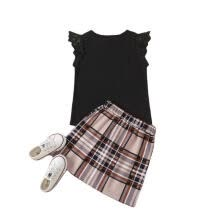 -Girl Sets Solid Color Fly Sleeve T-shirt and Plaid Split Short Skirt on JD