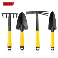 -Deli DL580804 Shovel Hoe Rake 4-piece Set Of Garden Hand Tools Mini Spade 5-Tooth Plough Hoe With 3-Tooth Harrow For Gardening on JD