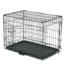 -Foldable Metal Pets Cage, Double Door Crates with Divider and Slided Plastic Tray for Dog Cat on JD