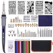 -79PCS Wood Burning Tool Kit Professional Pyrography Pen Soldering Iron Set Adjustable Temperature from 200-450℃ with LED Display f on JD