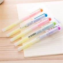 pens-Deli 6 color doble-resaltado dos colores resaltado resalte pluma pluma manual disponible marca de agua pluma 5 / caja on JD