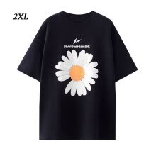 -1111fourone Women T-shirt Floral Printed Short Sleeve Round Neck Loose Top, Black, XXL on JD