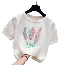 -TureClos Lady Short Sleeve Blouse Round Neck Top T Shirt Loose Style Feather Letter Print on JD