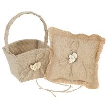 -6 * 6 inches Vintage Burlap Double Heart Ring Bearer Pillow and Rustic Wedding Flower Girl Basket Set on JD