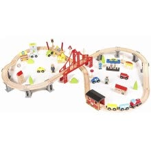 -70pcs/set Wooden Train Set Learning Toy Kids Children Fun Road Crossing Track Railway Play Multicolor on JD