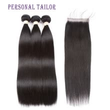 -Alot Hair Extension 100% Human Hair Bundles With Closure Brazilian Natural Hair Weave Bundles Straight 3 Bundles With Lace Closure on JD
