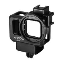 -Andoer G9-4 Action Camera Video Cage Plastic Vlog Case Protective Housing with Dual Cold Shoe Mount 55mm Filter Adapter Extension on JD