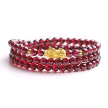 -Shi Chuan Baishi Collectible Natural Garnet Three Circle Bracelet 3D Hard Gold 999 Pure Gold Gold Pixiu Transfer Beads Women's 999 Gold with Garnet Beads Diameter 5mm on JD