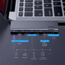 -Baseus 5 in 1 Multifunction Computer Type-C HUB To USB 3.0  Data Transfer PD Charge for MacBook Huawei Samsung laptop Accessory on JD