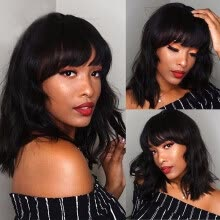 -Brazilian Virgin Hair Bob Cut Wavy Wig With Bangs Glueless Short Remy Human Hair Lace Front Wig For Black Women 130% Density on JD