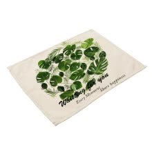 other-kitchen-supplies-Green Plant Printed Polyester Placemat Heat-resistant Stain-resistant Anti-slip Table Mat Bowl Coaster Dining Tableware Pad for Di on JD