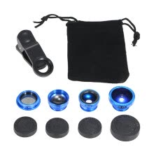 -Universal Mobile Phone Lens 5 in 1 Fish Eye Wide Angle Macro 2X Teleconverter CPL Lens Detachable Clip-on Camera Lens Kit on JD