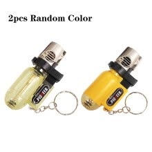 smoking-equipment-accessories-2pcs Cigarette Accessories Pendant Torch Cigar Lighter Refillable Windproof Cylindrical Shape Butane Gas Lighters Transparent with on JD