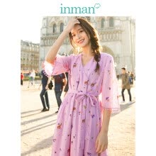 -INMAN 2019 spring new V-neck literary floral retro stripes waist slim loose A-line dress female 18911|04283 pink S on JD