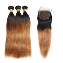 -Ishow 8A Brazilian Hair Extensions 3pcs 1b/30 Ombre Hair Straight Human Hair Bundles with Closure on JD