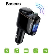 87506-Baseus 5V 3.4A Dual USB Car Charger Mobile Phone Charger with Wireless Bluetooh Phone Talking Music Play USB Car Charging on JD
