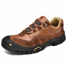-Men's outdoor waterproof hiking shoes leather non-slip shock absorption lightweight breathable comfortable walking shoes on JD