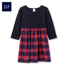 -GAP flagship store female young flannel stitching round neck long sleeve dress 398456 navy blue 5YRS on JD