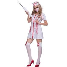 -Women Halloween Bloddy Nurse Uniform Costumes Sexy Fancy Dress + Headpiece + Mask Kit Masquerade Cosplay Party Performance Clothes on JD
