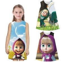 -Masha And The Bear Kids Girls Summer Casual Cotton Dress Party Pageant Dresses on JD