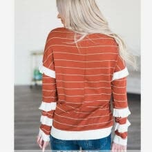 -New Orange Striped Hoodies Long Sleeve Ruffle T Shirt Casual Blouse Tops on JD