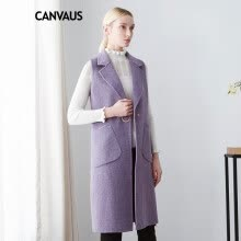 vests-CANVAUS 2018 New Autumn Winter Women Woolen Vest Purple Wool Slim Pockets Single Button V-neck Sleeveless Long Coat CF8074D on JD