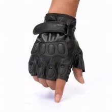 875061442-Mens Black Faux leather Fingerless Gloves for Military Motorcycle Riding on JD