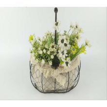 -American Rural iron art grid, linen, small flower basket, garden home decoration, living room, storage basket. on JD