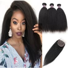 -Brazilian Hair Yaki Straight Human Hair Bundles with Closure Peruvian Virgin Hair Extensions 3/4 Bundles with 4*4 Lace Closure on JD