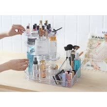 beauty-gifts-Acrylic Makeup Organizer big storage with tray 360 Degree Rotating Clear Adjustable height Cosmetic Storage with Layers with Large on JD