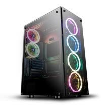 pc-cases-darkFlash Phantom Black ATX Mid-Tower Desktop Computer Gaming Case Ports Tempered Glass Windows with 6pcs 120mm LED DR12 RGB on JD