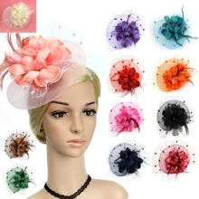 -Lady Flower Mesh Fascinator Feather Headband Party Headwear Cocktail Headpiece on JD