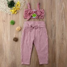 -2pcs Fashion Baby Girls  Sunsuit Formal Outfits Set new Kids Plaid Crop Top Vest+Striped Pants on JD