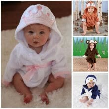 -Boy Girl Animal Baby Bathrobe Baby Hooded Bath Towel Infant Bathing Honey Baby on JD