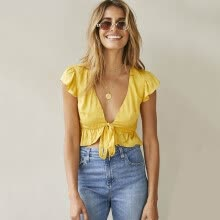 1947d440740b6e PREISEI Summer Women Yellow Sexy Cotton Ruffles Bandage Blouse V-Neck  Butterfly Short Sleeve Lace Up Ladies Shirt Tops CL007