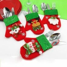 -HOT Christmas Gloves Sliverware Holders Pockets Dinner Table Decor Cutlery Bag on JD