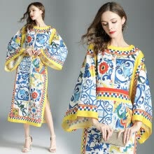 -DFYOP New Brand Women's Round Neck, Big Sleeves, Retro National Style, Printed Style Dress. on JD