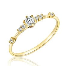 -14K Gold Plated Eternity Thin Band Rings 925 Sterling Silver Tiny Diamond Jewelry Anniversary Proposal Gift Party on JD
