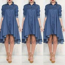 -Women Loose Long Sleeve Plus Size Cocktail Evening Party Mini Jean Dress New on JD
