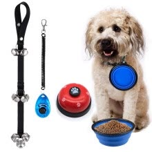 training-behavioral-aids-4 in 1 Dog Training Kit,Dog Door Bell Pet Cat Dog Collapsible Silicone Bowl Puppy dog Doorbells Training Clicker Kit,dog training on JD