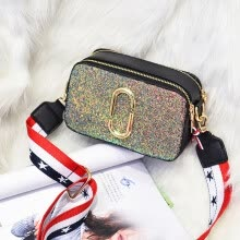 -Luggage fashion camera bag female bag paper clip sequins contrast color wide shoulder strap shoulder diagonal mini bag on JD