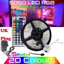 -〖Follure〗5M RGB 5050 Waterproof LED Strip light SMD 44 Key Remote 12V UK Power Full Kit on JD