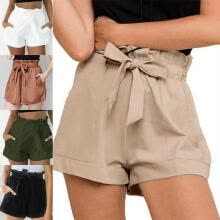 -Women Ladies High Waist Paper Bag Tie Belt Shorts Ladies Summer Pants Size S M L XL on JD