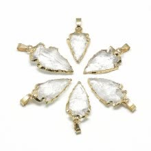 -Natural Quartz Crystal Pendants, with Brass Findings, Golden, 25~50x15~25x5~15mm, Hole: 7x4mm on JD