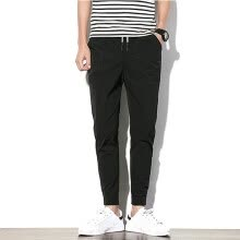 -Tailored Men's Fashion Summer Casual Solid Pocket Drawstring Cotton Long Pants Trouser on JD