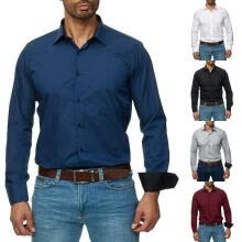 -Men Business Long Sleeve Classic Button Down Shirts Slim Fit Solid Shirts Blouse Formal Clothes S-XXL on JD