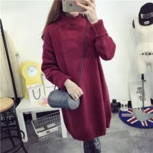 875061823-Long, loose and thick knitted sweater with undercoat for women's pullover with semi-turtleneck for autumn and winter 2018 on JD